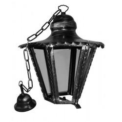 Lampadario lanterna esagonale ferro battuto vetro catena