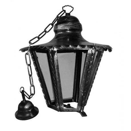 Lampadario per esterno lanterna esagonale ferro battuto vetro for Articoli per esterno