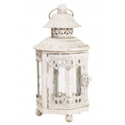 Lampada lanterna 27cm bianca ferro vetro vintage esagonale