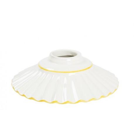 Piatto paralume ceramica plissettato 20cm giallo lampadario