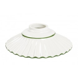Piatto paralume ceramica plissettato 29cm verde lampadario