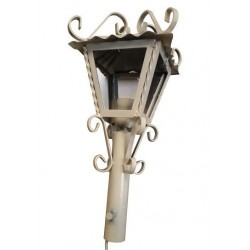 Lampione da giardino 28cm lanterna ricci avorio esterno ferro battuto