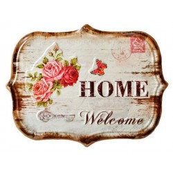 Targa in latta shabby chic welcome home country rose vintage