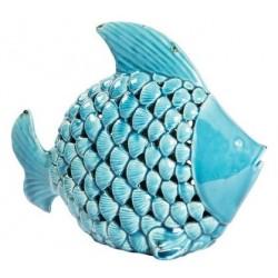 Statua statuina pesce ceramica azzurro soprammobile