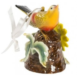 Statua statuina uccellino porcellana giallo fiore soprammobile