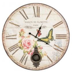 Orologio 57cm da parete pendolo shabby chic natura rose farfalle