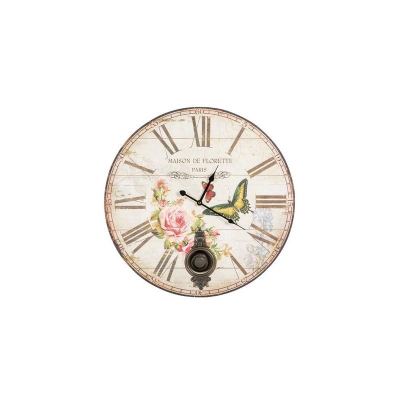 Orologio 57cm da parete pendolo shabby chic natura rose - Orologi da parete shabby chic ...