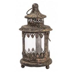 Lampada lanterna 20cm marrone ferro vetro vintage
