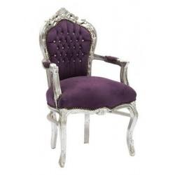 Poltrona stile barocco silver con tessuto viola new baroque