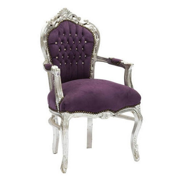 Poltrona stile barocco silver con tessuto viola new baroque ...