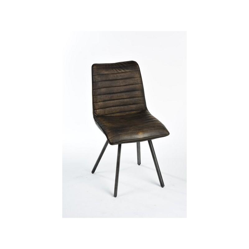 Sedia poltrona industrial Matthew vintage eco pelle marrone - Virginia\'s  Cottage