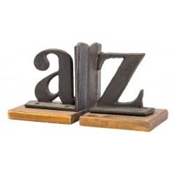 "Ferma libri reggilibri vintage ghisa legno ""A-Z"" moderno"