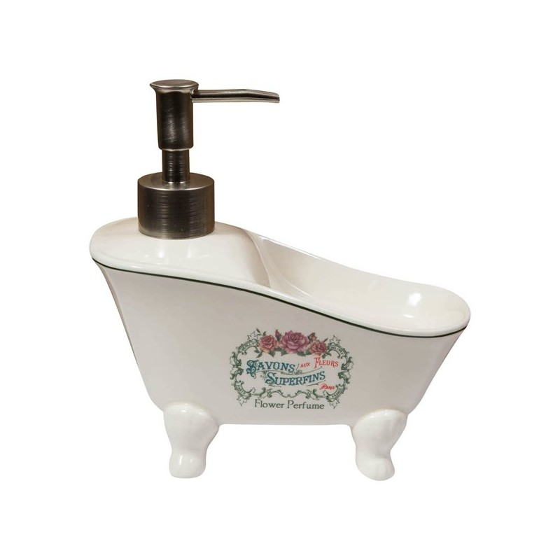 Dispenser sapone liquido vasca bagno porcellana shabby portasapone - Virginia's Cottage