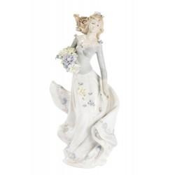 Dama statua statuina porcellana bouquet fiori vintage