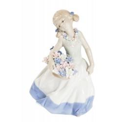 Dama statua statuina porcellana fiori bambina danza