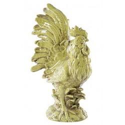 Gallo statua galletto verde sfumato ceramica country vintage