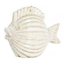 Statua statuina pesce ceramica bianco ambrato soprammobile
