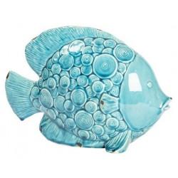 Statua statuina pesce ceramica cerchi soprammobile azzurro