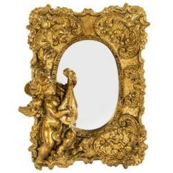 Specchio barocco liuto putto angelo fiori oro vintage