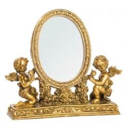 Specchio da appoggio toilette barocco rose oro putti angeli