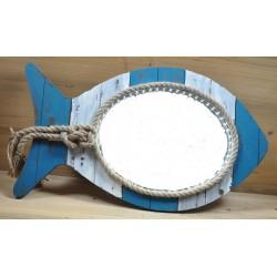 Specchio 61cm specchiera nautico pesce led mare legno
