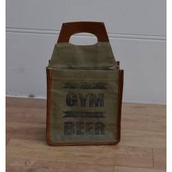 Portabottiglie porta bottiglie industrial vintage cotone ecopelle marrone