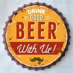 Targa pannello insegna metallo latta tappo pub birra beer