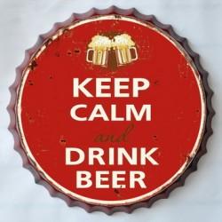 Targa pannello insegna metallo latta tappo pub keep calm beer