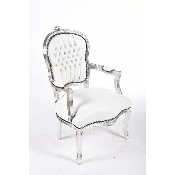 Poltrona sedia barocco legno bianco argento Luigi XVI pelle ...