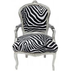 Poltrona sedia barocco legno bianco argento Luigi XVI tessuto zebrato