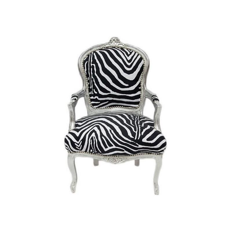 Poltrona sedia barocco legno bianco argento Luigi XVI tessuto ...