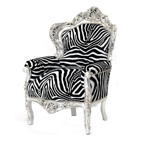 Poltrona sedia barocco legno argento Luigi XVI tessuto zebrato - Virginia\'s  Cottage