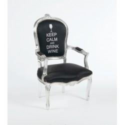 Poltrona barocco Luigi tessuto argento nera keep calm argento