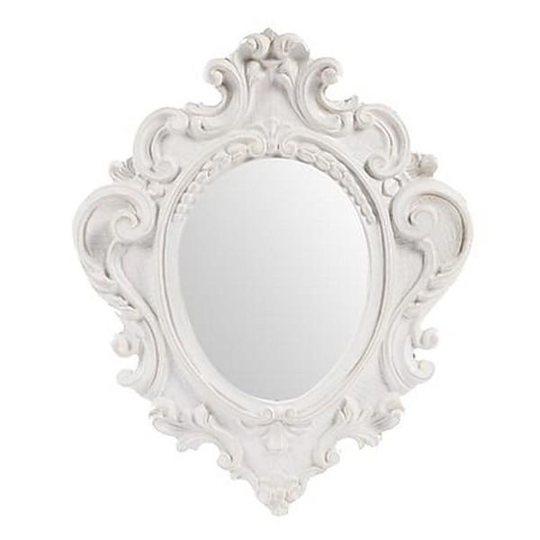 Specchio 38cm vintage bianco barocco shabby chic legno - Virginia\'s Cottage