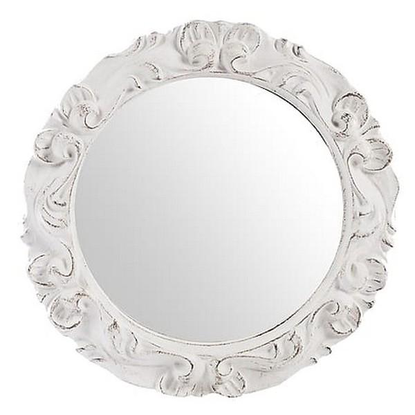 Specchio rotondo vintage bianco barocco shabby chic legno - Virginia\'s  Cottage