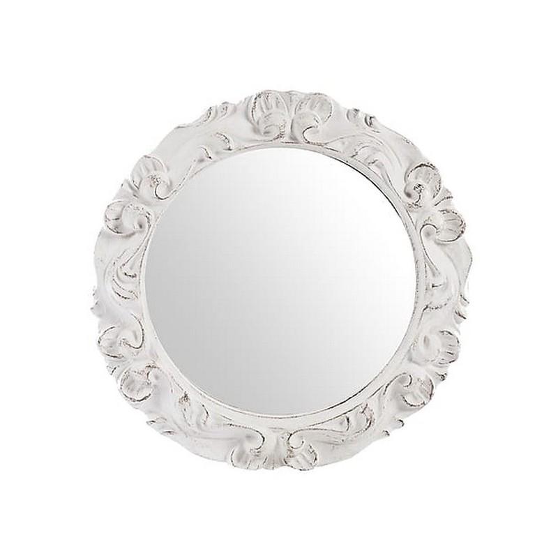 Specchio rotondo vintage bianco barocco shabby chic legno ...