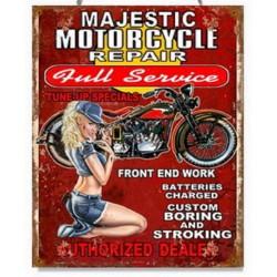 Pannello targa calendario latta moto motocicletta donna