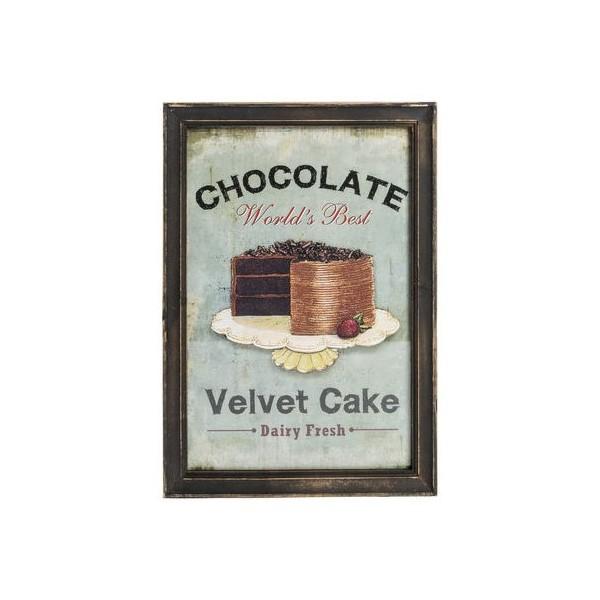 Pannello stampa targa quadro legno torta cucina vintage