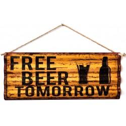 Pannello targa free beer birra insegna placca metallo latta pub