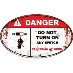 Pannello targa danger pericolo placca metallo latta elettricità