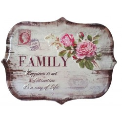 Pannello targa in latta family shabby chic country rose vintage