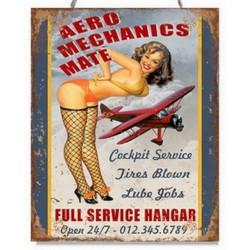 Pannello targa in metallo latta donna aereo pubblicità