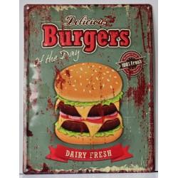 Pannello targa insegna metallo latta pubblicità pub hamburger