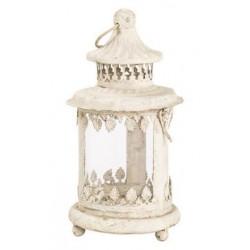 Lampada lanterna 20cm bianca ferro vetro vintage