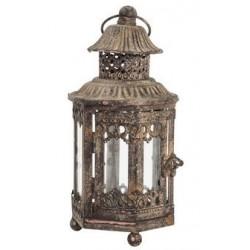 Lampada lanterna 27cm marrone ferro vetro vintage esagonale