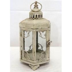 Lampada lanterna 35cm bianca ferro vetro vintage esagonale
