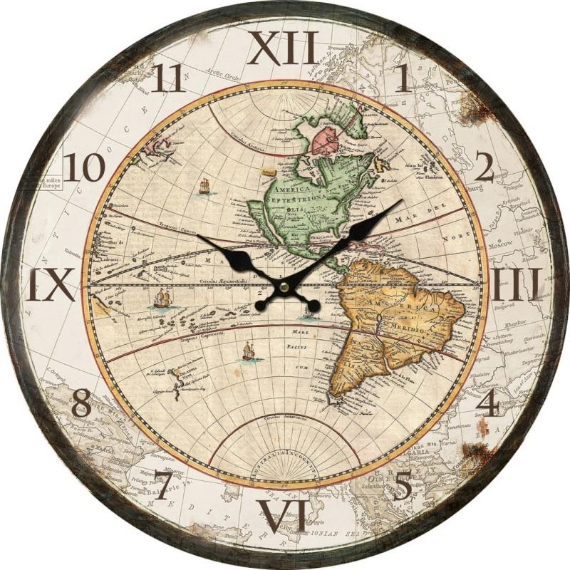 Orologio da parete 34cm mappamondo vintage mappa mondo for Mappamondo da arredo