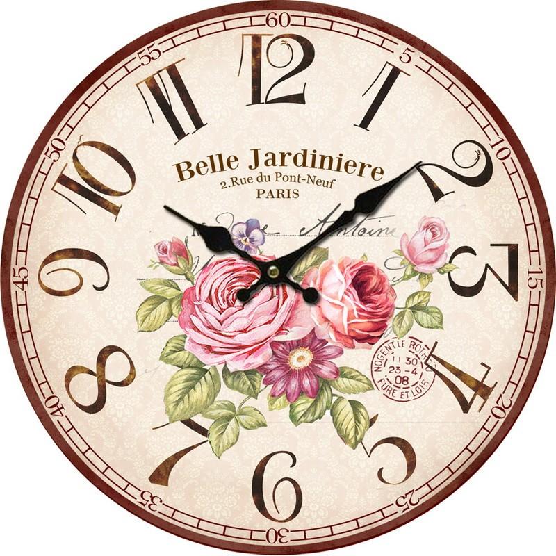 Orologio da parete vintage shabby fiori stampa rose for Stampe da parete