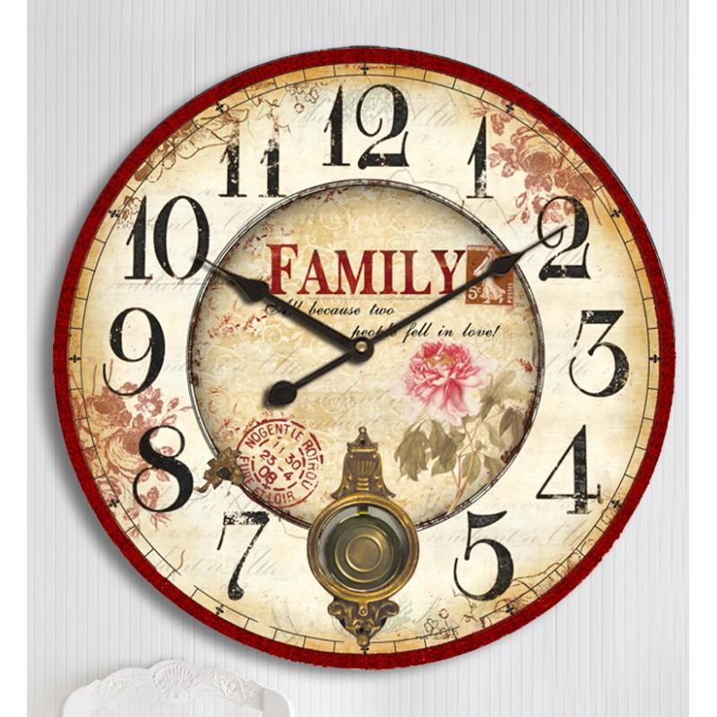 Orologio da parete pendolo shabby chic family cucina fiori ...