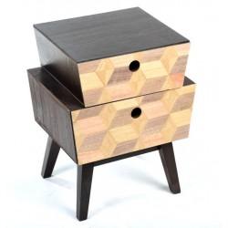 Comodino 2 cassetti industrial camera da letto mobile in legno